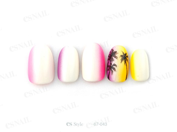 summer nail warm palm trees pink yellow
