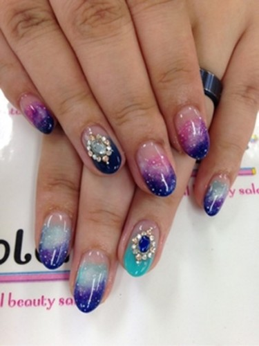 summer nail galaxy night gradient