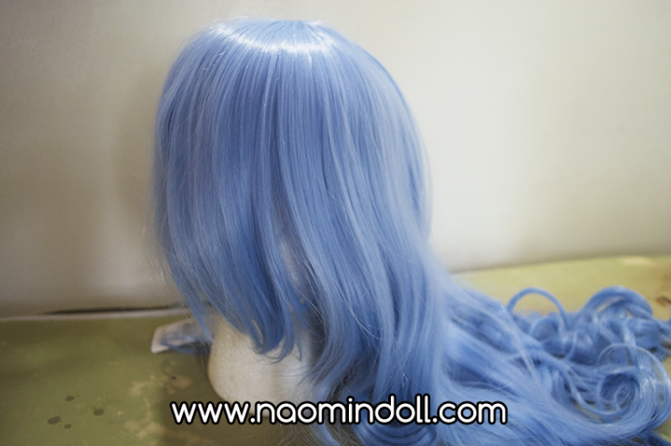 rosewholesale wig review, sky blue wig close up