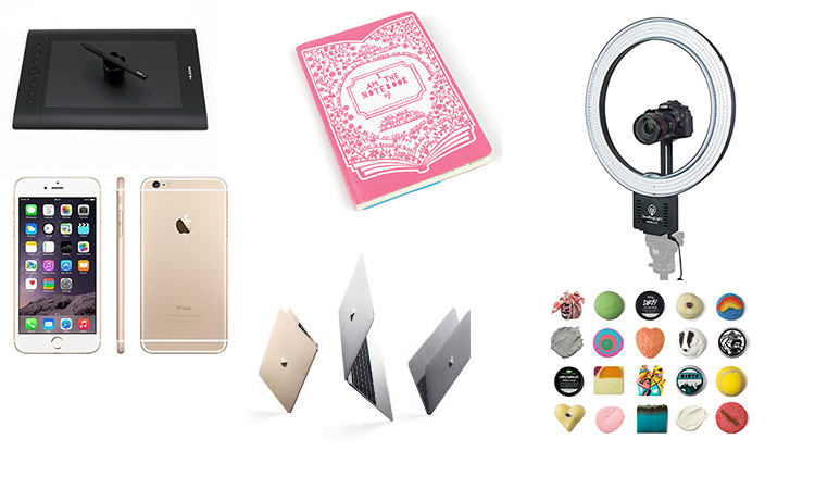 Christmas wish list: bullet journal/notebook, huion h610pro graphics tablet, macbook, iphone 6, lush cosmetics, diva ring light | Blogmas | Naomi 'n Doll