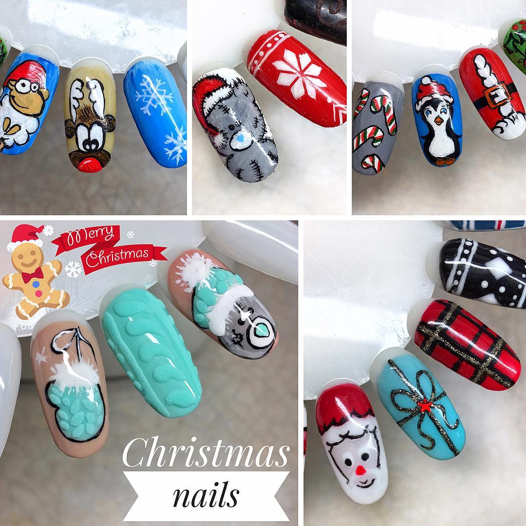 Christmas festive nails by pat18s| Naomi 'N Doll